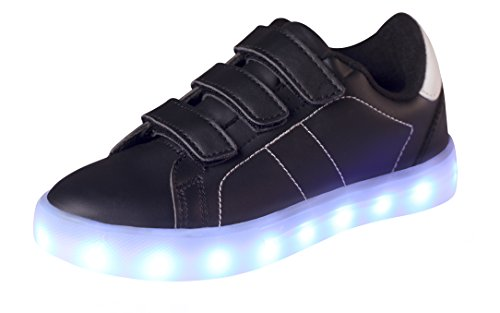 T&Mates LED Luminous Flashing Light up Low Top Velcro PU Rechargeable Sneakers for Kids Boys Girls