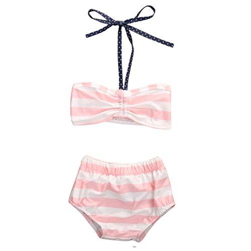 Baby Girls 2Pcs Swimwear Bikini Striped Halter Bra Top+Bow Bottom Swimsuit (3-4T, Pink&White)