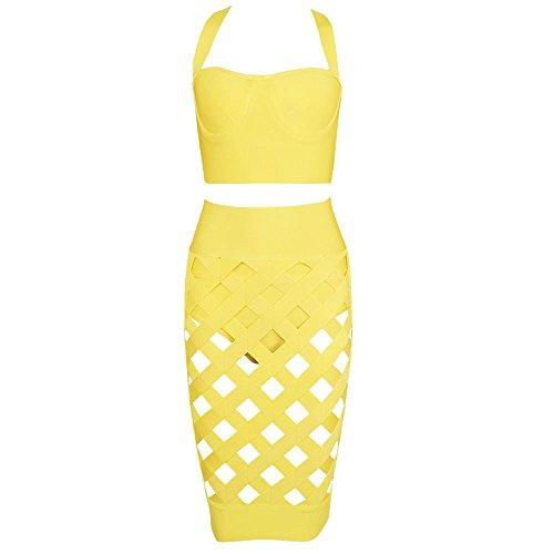 3 Lattice Giallo Piece Dress Out Bandage Caves Set Hlbandage Pure Color BaPqxOOw