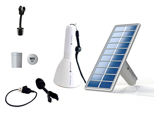 Solar hanging, table or portable lamp Cellular phone charger. Ultra efficient dimmable led 200, 80, 20 lumens. Includes an 8W solar panel. Ideal for outdoor, camping, fishing, hunting. Solar light.