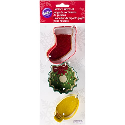 Wilton 2308-5071 3-Piece Christmas Mantel Metal Cookie Cutter Set