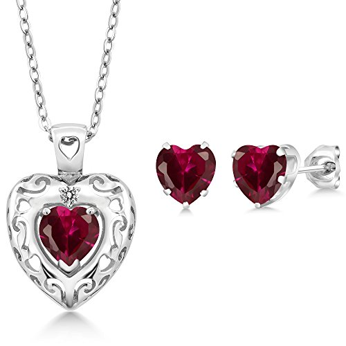 2.90 Ct Red Created Ruby White Diamond 925 Sterling Silver Pendant Earrings Set
