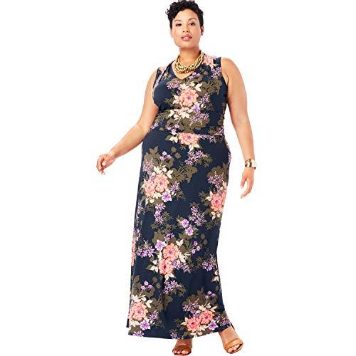 Jessica London Women's Plus Size V-Neck Maxi Dress - Navy Shadow Bouquet, 28 W ()