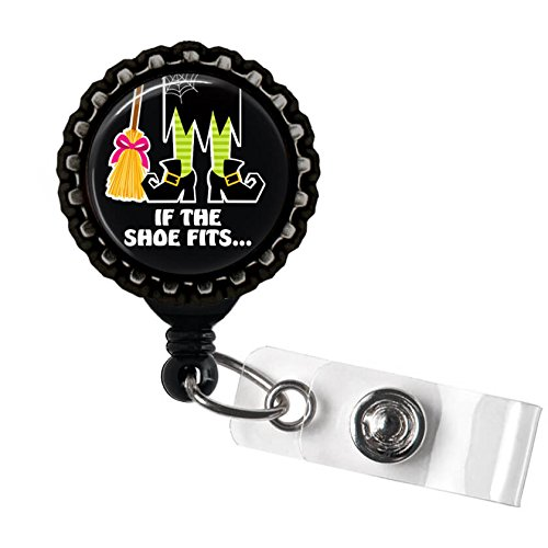 Black If the Shoe Fits Halloween Witch Black Retractable Badge Reel ID Tag Holder by Geek Badges