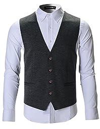 FLATSEVEN Mens Designer Stylish Casual Vest Premium (VE701) Grey, XL