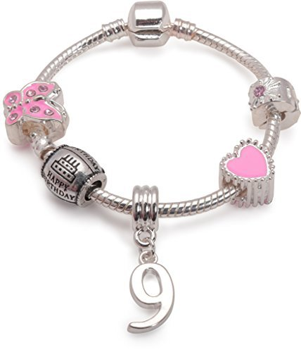 Liberty Charms Children's Pink Happy 9th Birthday Silver Plated Charm Bracelet. (Other Sizes - Liberty 9 Kids