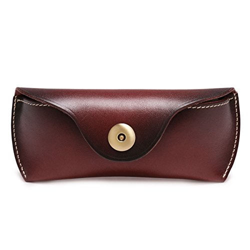 Boleke Genuine Leather Eyeglass Cases Vintage Sunglasses Protective Holder (Brown)