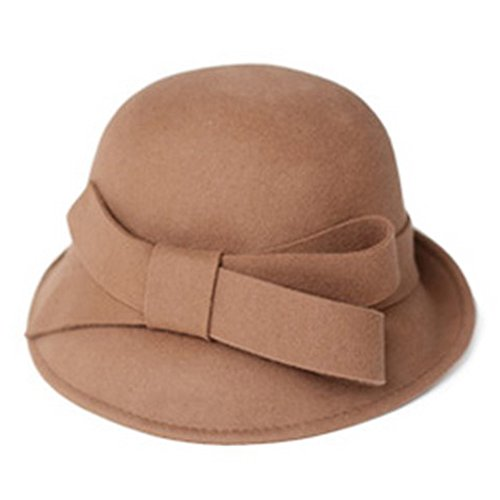 Women's Wool Felt Hat Ladies church Bowler Hats with Big ...