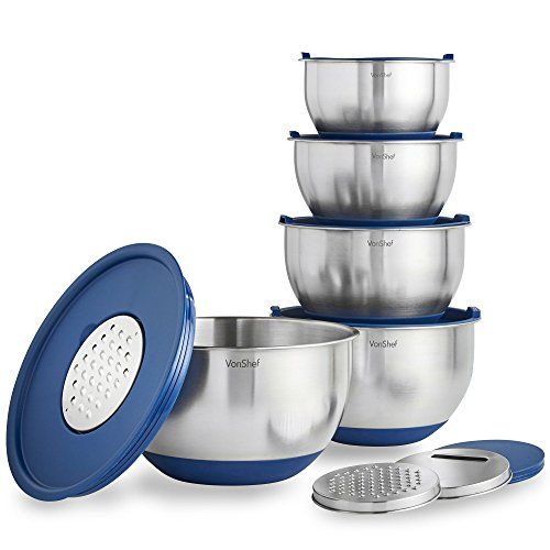 VonShef Nested Mixing Bowl Set With Lids, Non Slip Surface, Measurement Marks and 3 Assorted Grater Attachments, Stainless Steel Mirror Finish Bowls, 5 Piece