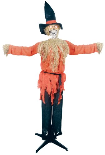 Gemmy Halloween Scary Standing Scarecrow Moving Head Holiday Prop -