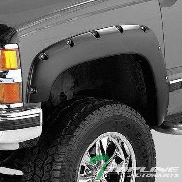 Topline Autopart Pocket Rivet Bolt Style Fender Flares (Matte Black) JR For 88-00 Chevy/GMC C10 C/K Truck/Silverado/Suburban/Tahoe/Blazer/Sierra/Jimmy/Yukon