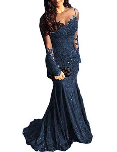 (TTYbridal Mermaid Prom Dress Lace Sexy Evening Party Dresses Formal with Long Sleeve P62 Navy Blue 16)