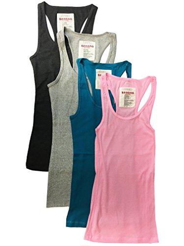 Zenana Outfitters 4 Pack Womens Basic Ribbed Racerback Tank Top (Medium, Charcoal, Heather Grey, Jade, Hot Pink) (Apple Green Tank Top)