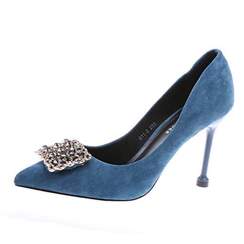 Invierno Con Otoño Zapatos Profesional Tacones Fino Nuevo Blue Individuales Femenino Imitación Mujer Altos De E 2019 Puntiagudo Hoesczs Salvaje Elegante Diamantes c0qPaBWP