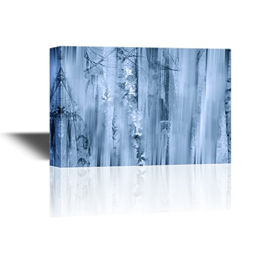 Abstract Landscape Artwork with Birch Trees in Mist