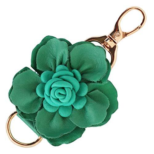 Keychain Ring Key Flower - Genuine Leather Handmade Flower Charms | Pom Pom Keychain | for Tassel Bags Purse Backpack | Stainless Steel Key Ring (Green - Flower)