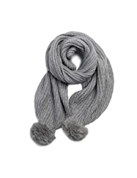 Knitted Wool Scarf Thick Warm Personality Hair Ball Bib Cold Winter Wild Shawl (Color : Gray)