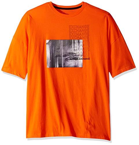 (A X Armani Exchange Men's Short Sleeve Crew Neck Graphic Logo T-Shirt, Flame, M)