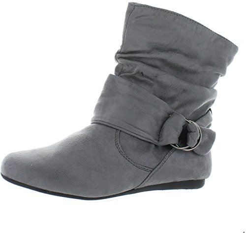 Heel Zipper Calf Side Grey Women's Boots Fashion Flat Ankle Slouch fTanq7