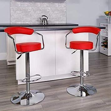 Set of 2 High Back Rest 360 Swivel Bar Stool with Chrome Base PU Leather Height Adjustable Hydraulic Bar Stool Pub Chair Kitchen Island Axion Modern Black Stool