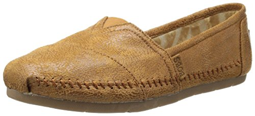 BOBS from Skechers Women's Luxe Rain Dance Flat,Chestnut Suede,5.5 M US (Chestnut Smooth Footwear)