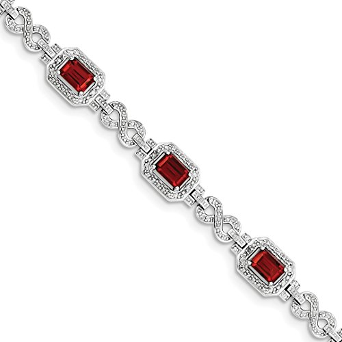 (ICE CARATS 925 Sterling Silver Diamond Red Garnet Bracelet 7 Inch Infinity Gemstone Fine Jewelry Ideal Gifts For Women Gift Set From Heart)