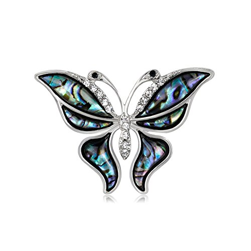- Silver Bejeweled Butterfly Pin with Abalone Wings