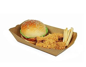 Mannily - 100 bandejas de papel para alimentos, color marrón, papel kraft, bandeja para servir alimentos: Amazon.es: Hogar
