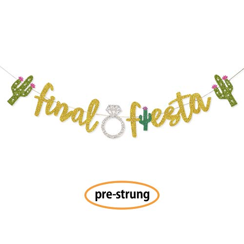 Gold Final Fiesta Bachelorette Party Decorations Banner (Pre-Strung) - Hen Party Decorations Mexican Fiesta Theme Banner Sign for Bridal Shower and Bridal Party Accessories