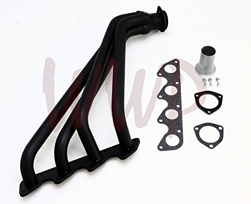 Black Performance Exhaust Header 79-89 Dodge Power Ram D50 & 76-81 Mitsubishi Montero Pickup Truck 2.0L/2.6L ()