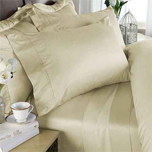 (Deluxe' Solid Bed Sheet Set 100 Percent Egyptian Cotton Fine Single Yarns 1800 Thread Count Features Indulgently Soft Surface with a Lovely Sheen!! Set includes Fitted, Flat and Pair of Pillow Cases. Deep Pocket Fitted Sheet up to 18 Inches (King, Linen / Beige))