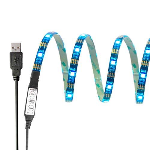 InnoBeta® 90cm(35.4 Zoll) Mehrfarben -LED-Bias Hintergrundbeleuchtung Lighting DC5V 6.5W IP65 flexible wasserdichte SMD5050 RGB Cuttable USB-Streifen für TV, HDTV, LCD-Bildschirm, Laptop, PC, Outdoor, Schlafzimmer, bessere Atmosphäre und reduzieren Überanstrengung der Augen