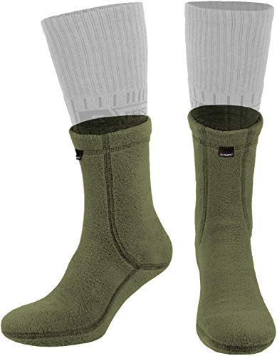 281Z Military Warm Liners Boot Socks - Outdoor Tactical Hiking Sport - Polartec Fleece Winter Socks (X-Large, Green Khaki)