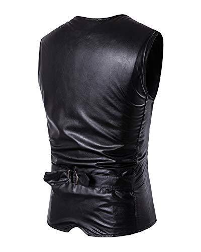Vintage Faux Fit Casual Cuir De Veste Homme Gilet Costumes Noir Slim qwxRgItp