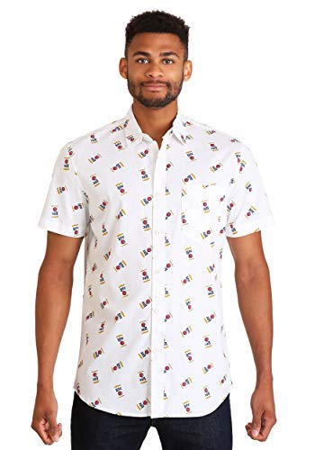 - Miller Men's Can Button Up Woven Shirt with Logo Pattern, White Large