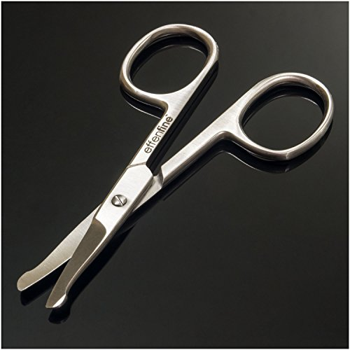 effenfine Nose Hair Scissors for Trimming - Safely Trim Nose and Ears with our German Stainless Steel Scissors