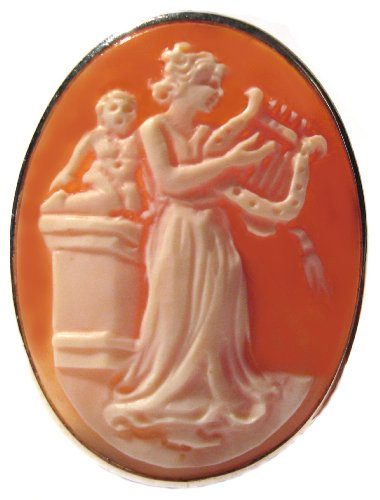 Brooch 18k Cameo (Goddess of Music Calliope Cameo Master Carved, Brooch Pendant Sterling Silver 18k Gold Overlay Italian)