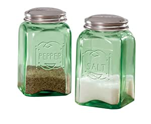 Miles Kimball Green Depression Style Glass Salt & Pepper Shakers