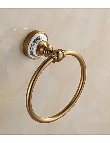 LH Antique Porcalin Porcelain Bathroom Towel Ring , Neoclassical Brushed Wall Mounted ()