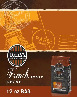 Tully's French Roast Decaf, Ground Coffee, 12oz. Bag (Pac...