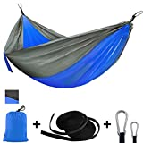 ANKND Outdoor Camping Hammock - Portable Nylon Parachute Lightweight Hammocks Anti-Fade Nylon Single and Double Hammock with Tree Straps