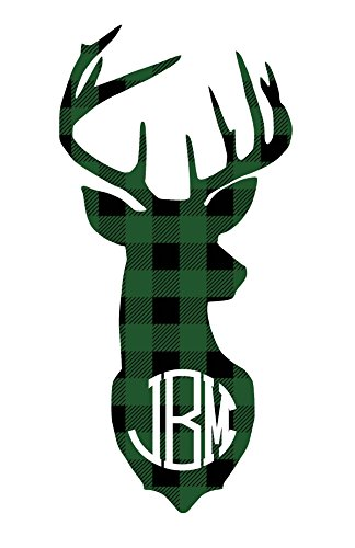 Green Buffalo Plaid Deer Antlers Monogram Decal Sticker for Laptop Car Yeti RTIC Tumbler or Cup