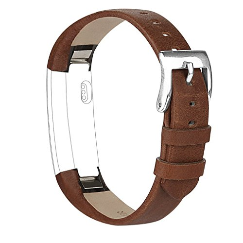 Tobfit Fitbit Alta HR and Fitbit Alta Leather Bands Replacement Leather Watch Bands With Stainless Steel Buckle for Fitbit Alta HR and Alta (Chocolate Brown+Suede Grey) by Tobfit (Image #2)