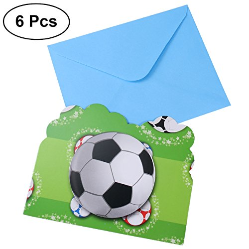 2018 Invitation - LUOEM Soccer Invitation Cards 2018 World Cup Gift Card Football Invitation Card Kids Birthday Party Favor Supplies 6PCS