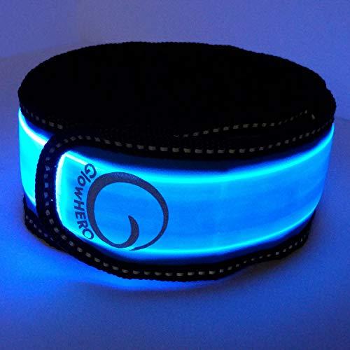 GlowHERO LED Slap Bracelet - The Original Glow Band - As Seen On TV- Ultra Bright High Visibility Reflective Safety Slap Band (Neon Blue, Unisex) -