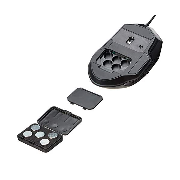 Amazon Basics PC Programmable Gaming Mouse | Adjustable 12,000 DPI, Weight Tuning