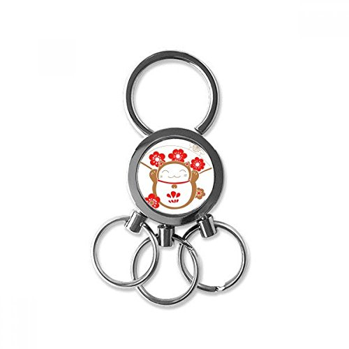 Lucky Seven Car Charm - Cherry Blossoms Fan Fat Lucky Fortune Cat Japan Culture Metal Key Chain Ring Car Keychain Trinket Keyring Novelty Item Best Charm Gift