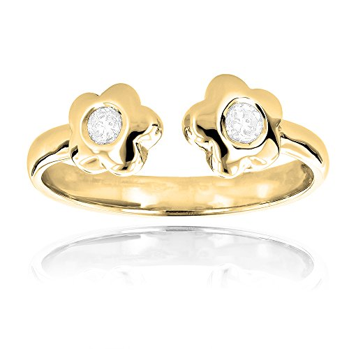 Luxurman Unique Adjustable 14K Natural 0.1 Ctw Diamond Toe Ring Flower For Her (Yellow Gold)
