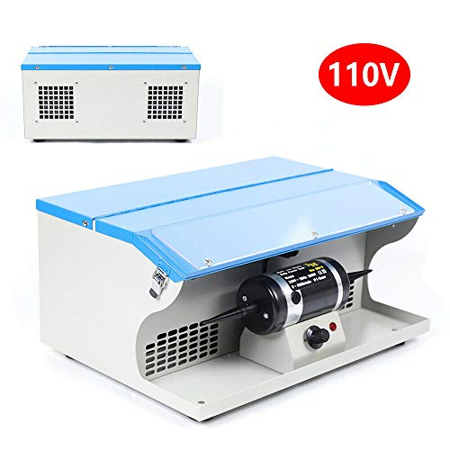 HYYKJ Bench Top Polisher Polishing Buffing Machine Tabletop Jewelry Making Polisher Buffer Dust Collector with Light 8000RPM 110V 200W (US PLUG)