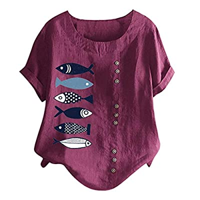 aihihe Womens Plus Size Tops Crew Neck Short Sleeve Floral Print Button Down T-Shirt Summer Casual Blouse